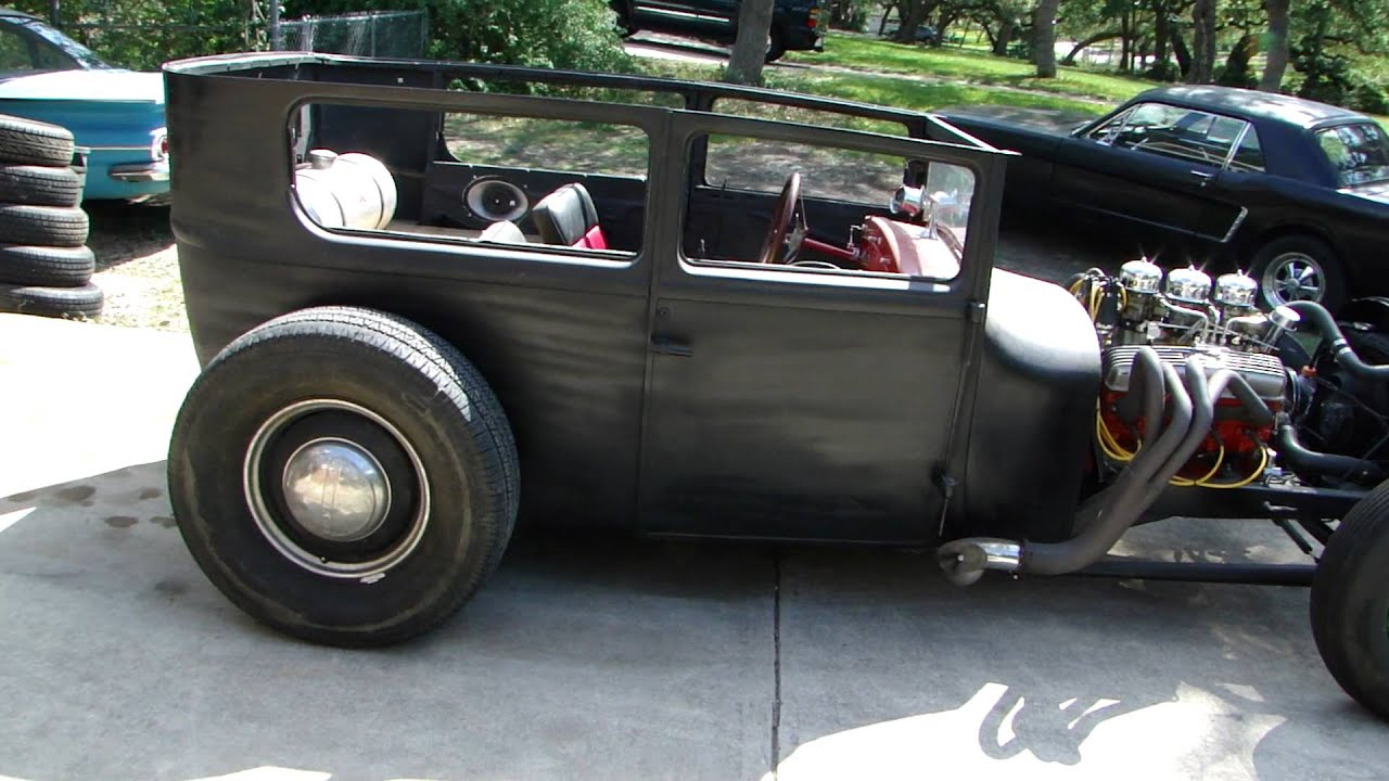 Rat hot rod 1927 ford model t sedan youtube for 1927 ford model t 4 door sedan