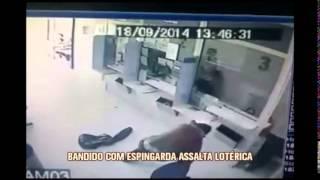 Assaltante usa espingarda para roubar casa lot�rica