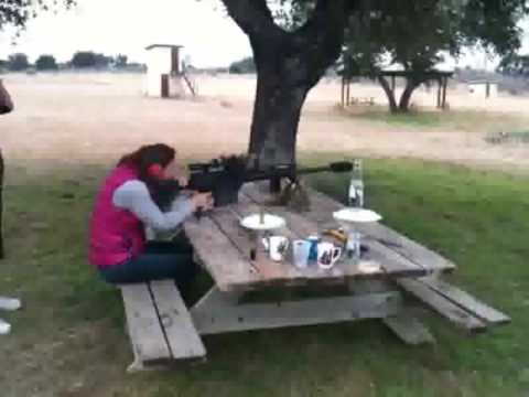 Woman Clears the Table with a 50 Caliber