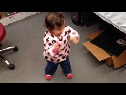 20 Month Old Baby Girl Dances To The Music (the brush the dirt of your shirt dance)