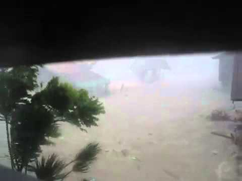 Typhoon Haiyan Sweeping Houses Away | Footage |