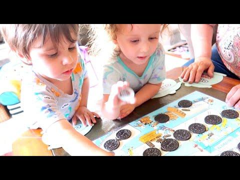 Twins Play Vintage Oreo Matching Game & Funny Birthday Celebration