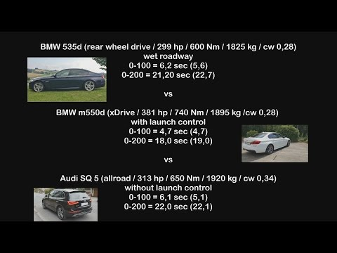 BMW 535d vs BMW M550d vs Audi SQ5 tdi - 0-200 km/h - Tacho - Acceleration - Comparison
