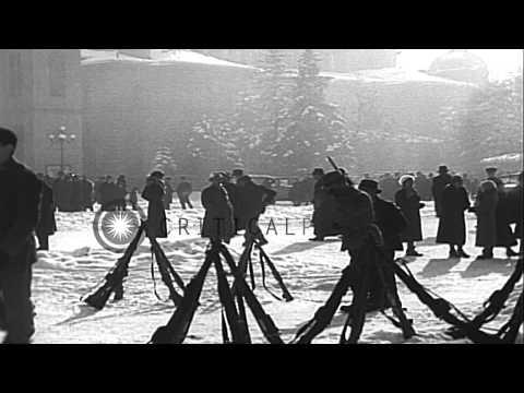 Heimwehr guardsmen defend the Austrian border as Austrian Chancellor Engelburt Do...HD Stock Footage