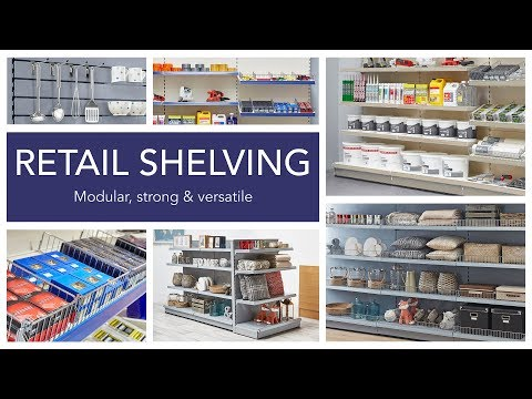 Silver Retail Shelving Gondola Unit - H1400 mm, 8 x 370 mm Shelves, 2 x Base Shelves