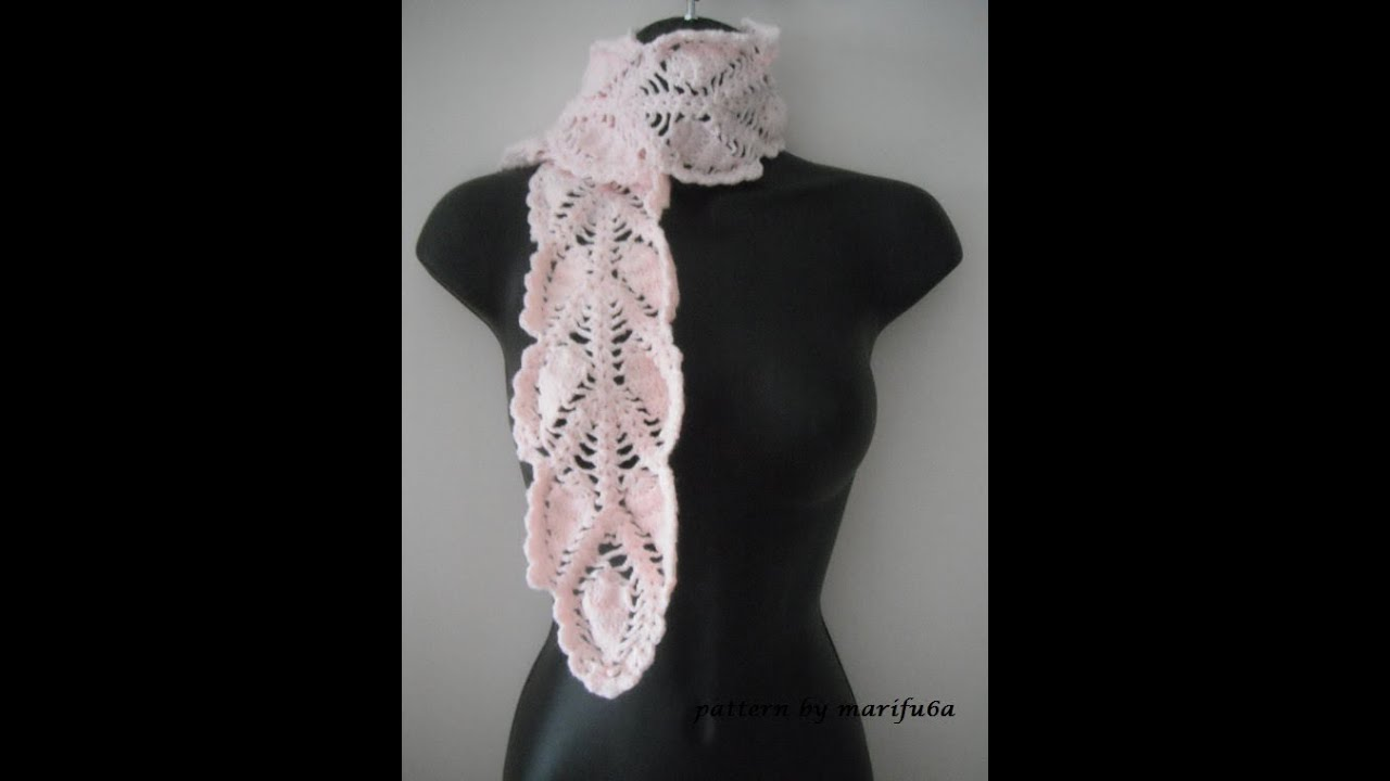 Crochet Shawl Patterns Youtube : how to crochet pineapple scarf free pattern tutorial - YouTube