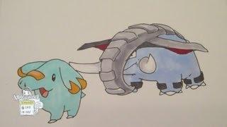 How To Draw Pokemon: No.231 Phanpy, No.232 Donphan