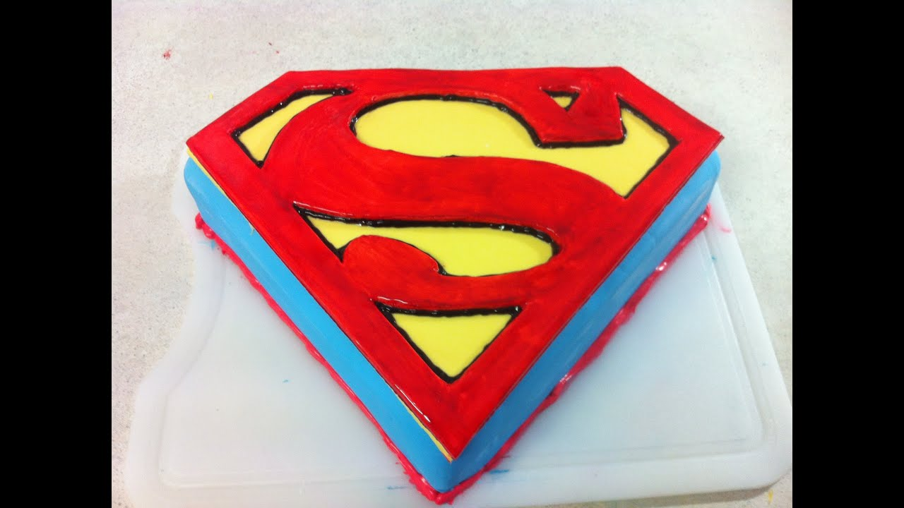 Superman Man Of Steel Cake (How To) - YouTube