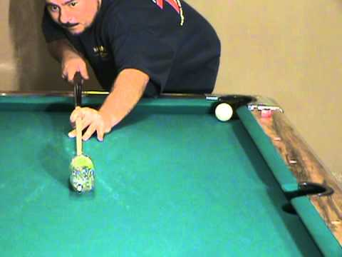 Pool Billiards Training. Develop Straight Billiard Stroke. Shoot open bottle.