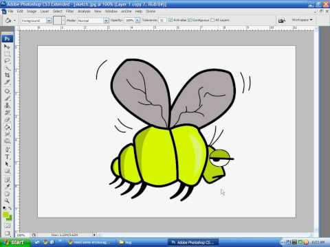 Using Photoshop to convert hand drawing to line art and basic coloring - Part 2