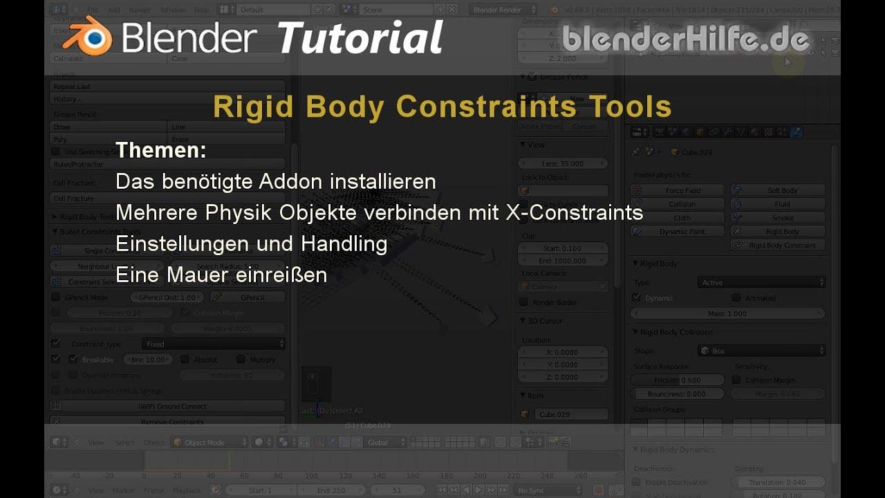 Blender 3D Tutorial - Rigid Body Physics - Bullet
