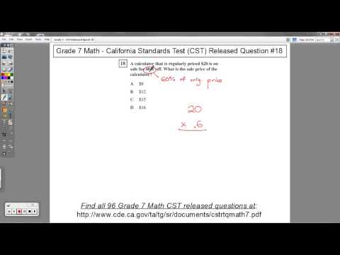 Grade 7 Math - CST Released Question #18 (Sale Price)