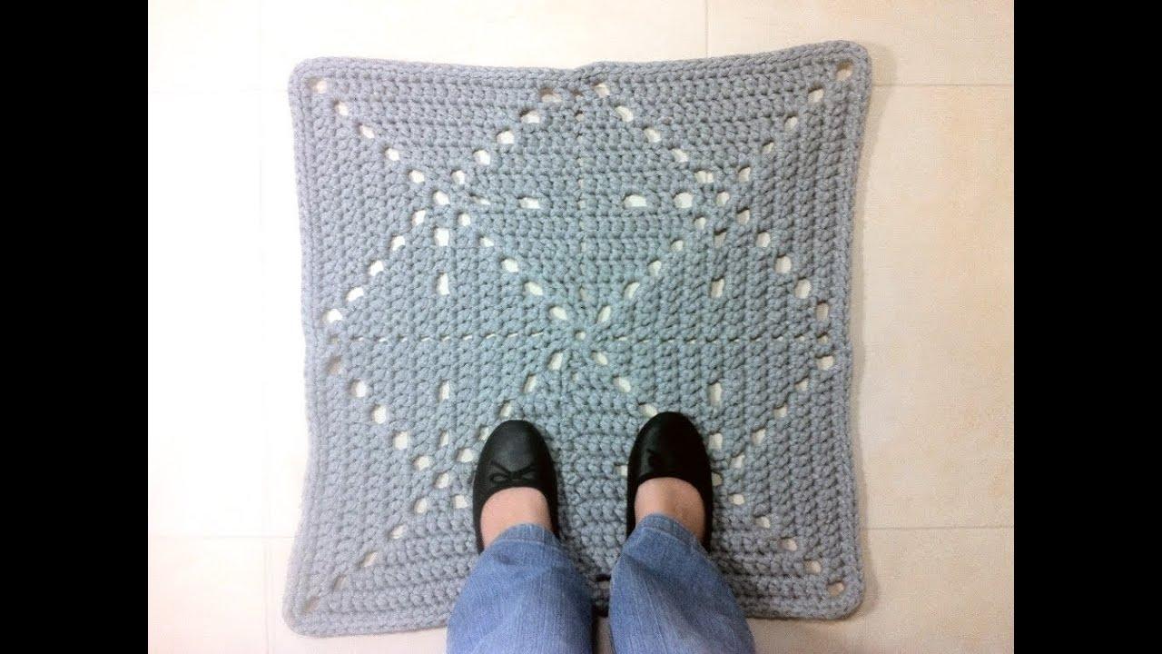 Tutorial c mo hacer alfombra cuadrada de trapillo a ganchillo youtube - Tutorial alfombra trapillo ...