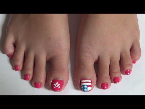 Nail Art For Beginners - American Flag Nails - Vẽ Móng Chân Lá Cờ Mỹ | Yêu Làm Đẹp