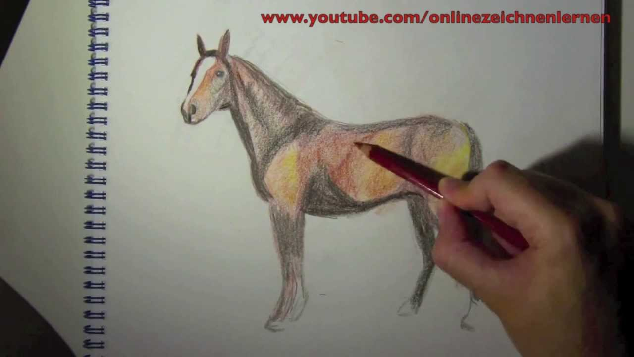 wie zeichnet man ein pferd farbe online zeichnen lernen youtube. Black Bedroom Furniture Sets. Home Design Ideas