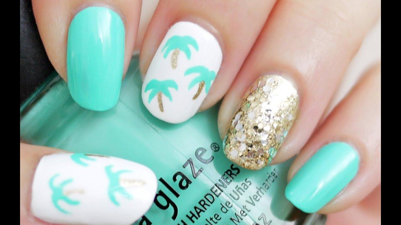 Easy Palm Tree Nail Art (Using a Toothpick!) - YouTube
