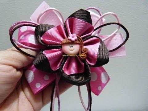 flores en cinta faciles para  decorar moños para el cabello paso a paso. Manualidadeslahormiga