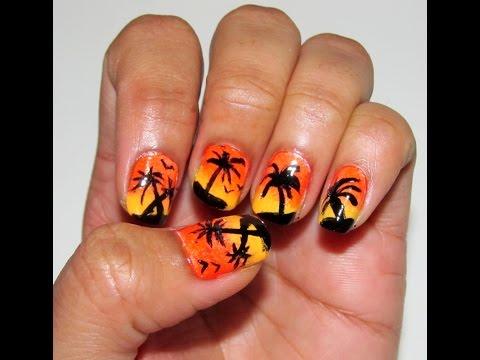 No tool simple Palmtree nailart design Manicure,Fácil de Palm diseño árboles nailart