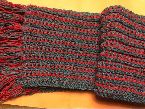 Móc khăn len hai màu.  How to crochet a 2 color scarf
