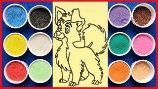 Đồ chơi trẻ em TÔ MÀU TRANH CÁT CON CHÓ SÓI - Learn Colors Sand Painting Toys (chị Chim Xinh)