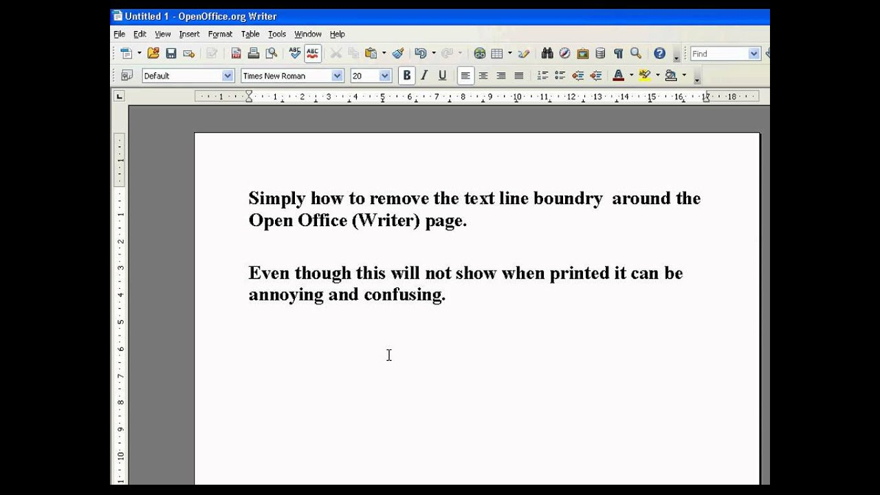 how to remove border on open office