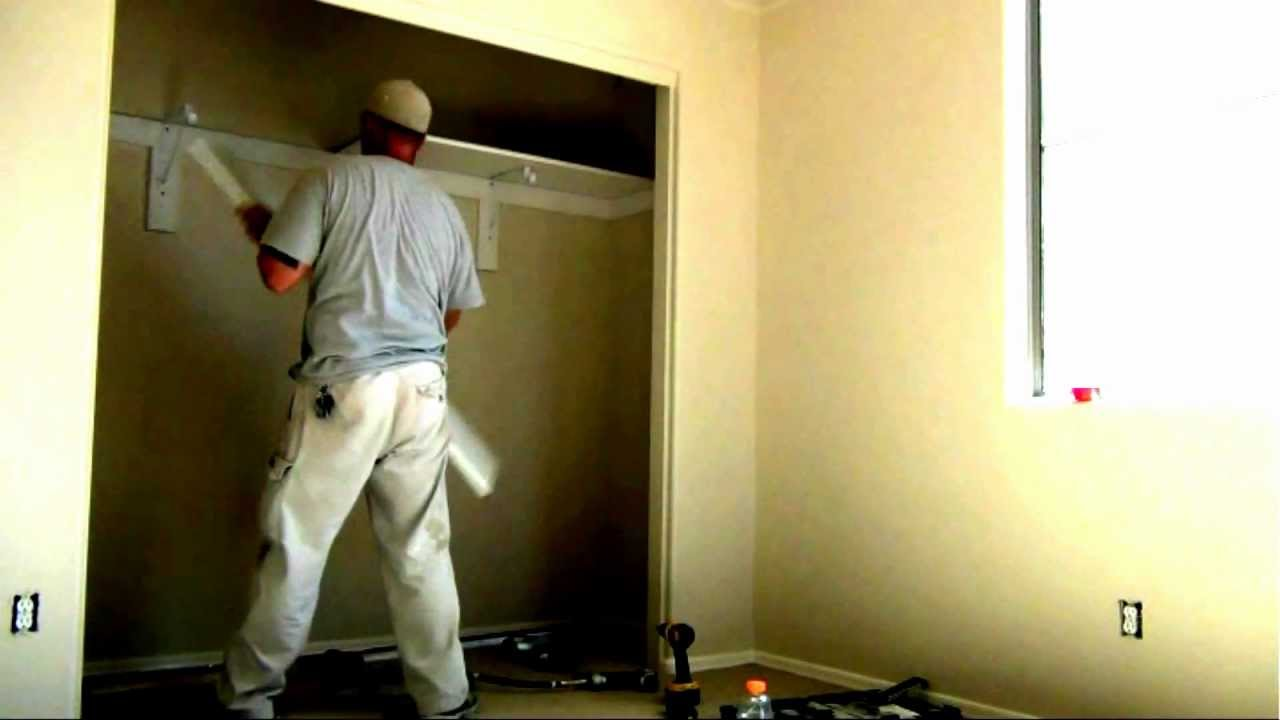 how to build a closet shelf and pole rod installation youtube. Black Bedroom Furniture Sets. Home Design Ideas