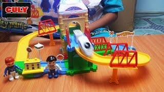 Bộ đồ chơi đường ray tàu lửa siêu tốc kéo hàng có máy bay vòng vòng train toy for kids tàu hỏa