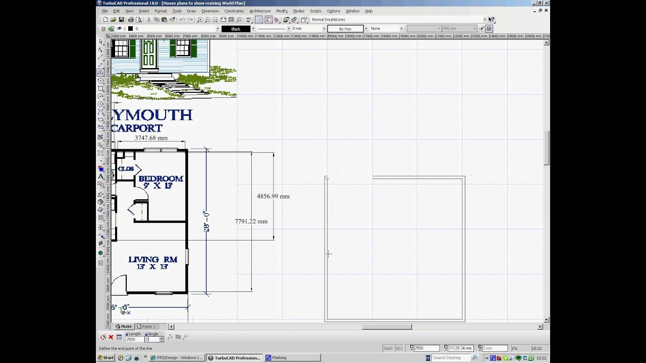 turbocad templates free - turbocad drawing house plans 1 youtube