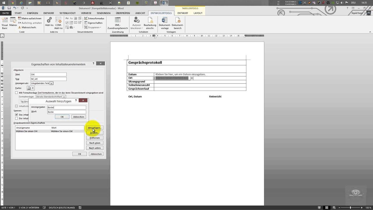 Entwicklertools Und Steuerelemente In Word 2010 2013