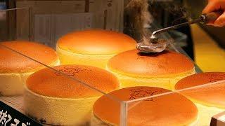 Japanese Street Food - JIGGLY CHEESECAKE Uncle Rikuro's Cheese Cake Osaka Japan