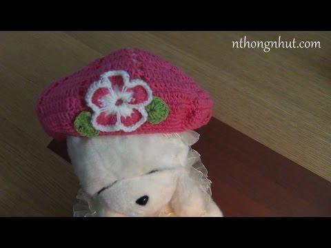 Móc nón len: móc nón len cho bé gái từ 2-3 tuổi
