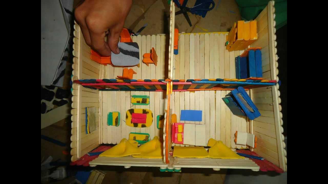 Casita de palillos de helados youtube - Como hacer una maqueta de una casa ...