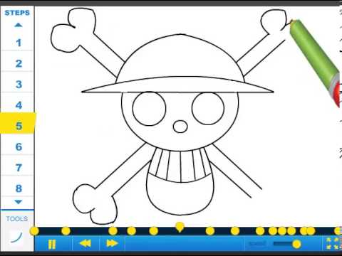 How to draw Straw Hat Pirate Crew Symbol - Drawing Tutorial Video