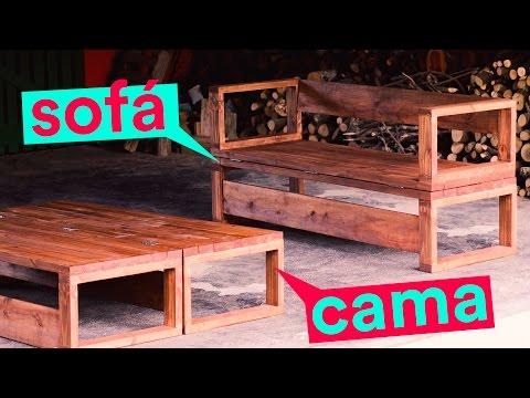 POLYFORT COLA MADEIRA - DIY: Sofá-cama de madeira