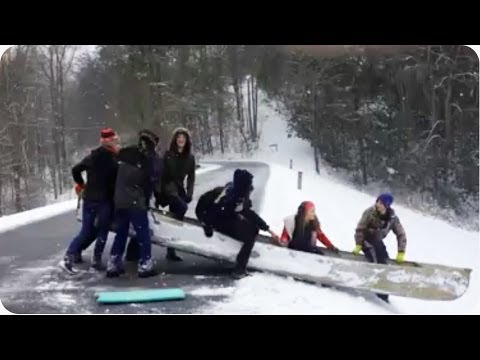 Canoe Luge Into Lake | New Olympic Sport!