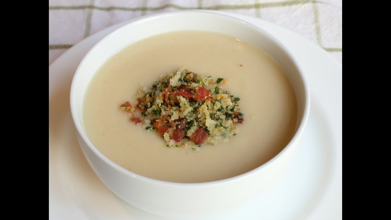 Cream of Cauliflower Soup with Bacon Gremolata - YouTube