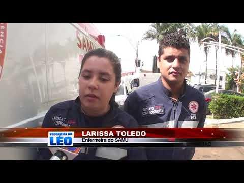 06/05/2019 - Mulher de 42 anos fica gravemente ferida em acidente envolvendo moto e caminhão em Barretos