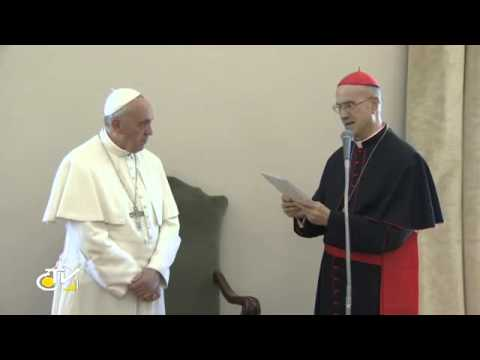 Pope Francis thanks Cardinal Bertone as he ends service