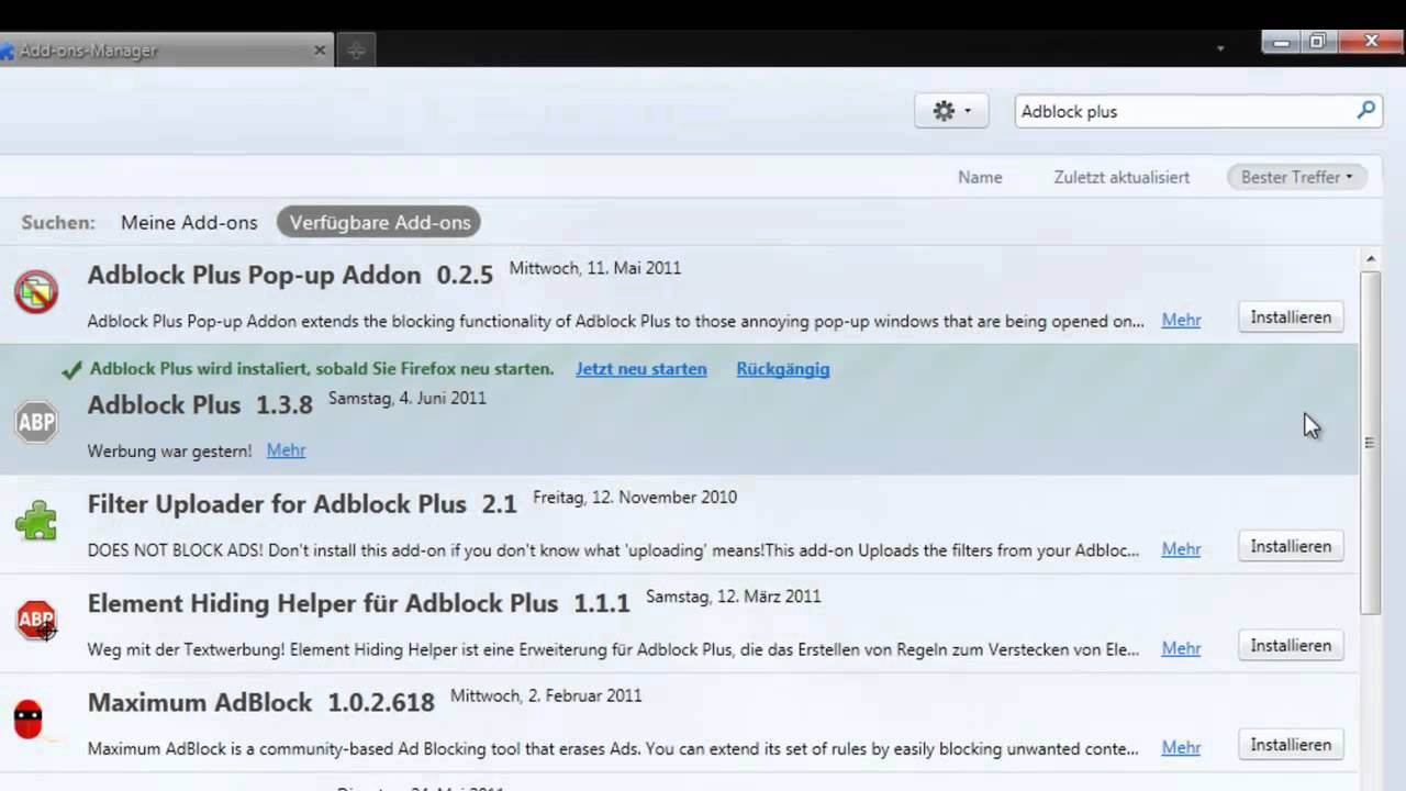 Tutorial: Mozilla Firefox Add-on Adblock Plus 1.3.8 ...