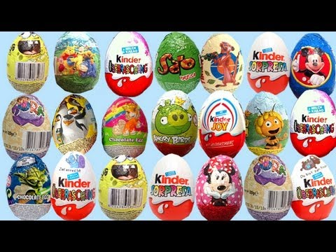 20 SURPRISE eggs toys huevo kinder UNBOXING gonzalomedin