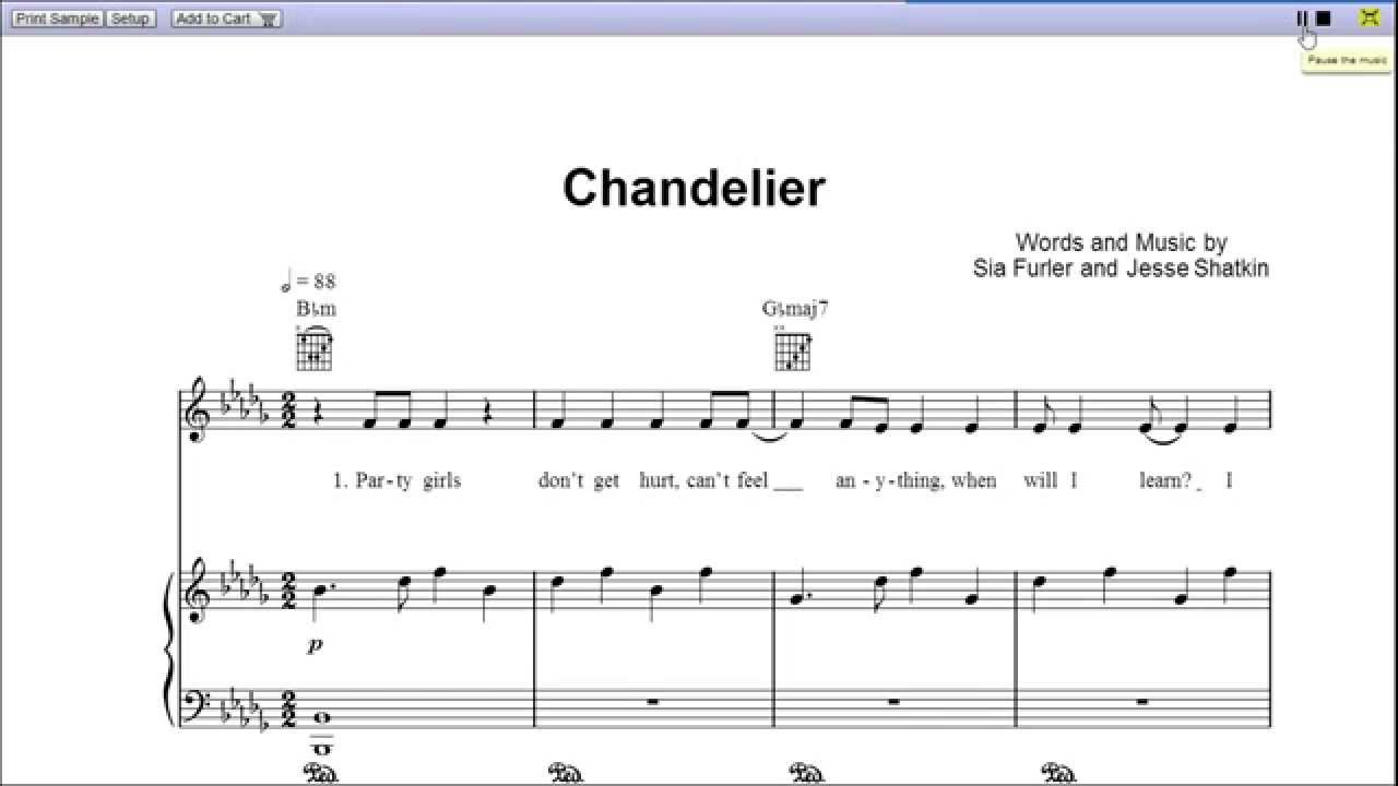 Chandelier by Sia - Piano Sheet Music:Teaser - YouTube
