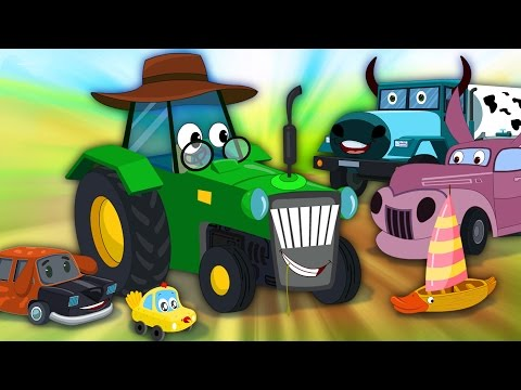 Little Red Car Rhymes - Old Mac Donald | Funny Old MacDonald With Cars