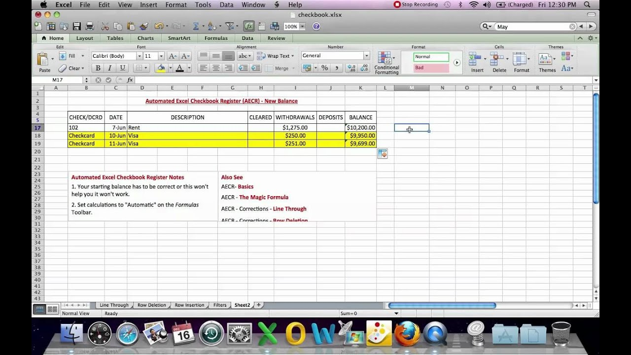 Automated Excel Checkbook Register New Balance - YouTube