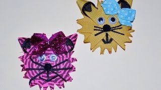 KITTY CAT KITTEN Ribbon Sculpture Zoo Animal Hair Clip Bow