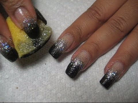 New Years Bling Silver Black Sponging Nail Art Tutorial Youtube