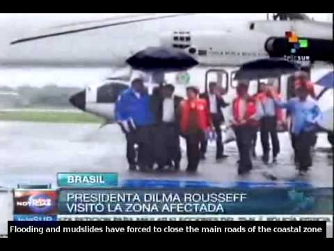 Dilma Rousseff visits states affected by heavy rains