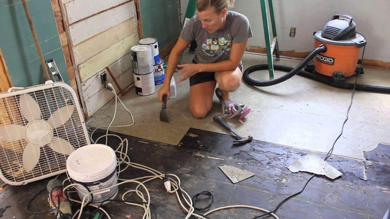 How we removed our asbestos floor tiles youtube for How to remove old asbestos floor tiles