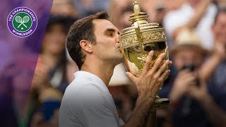Roger Federer and Marin Cilic receive their Wimbledon 2017 trophies