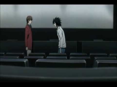 Death Note - Movie theater deleted scene (English subs), A deleted/alternative scene from Death Note when L and Light meet in a movie theater and stuff. I really hope L was just eating candy or something right befo...