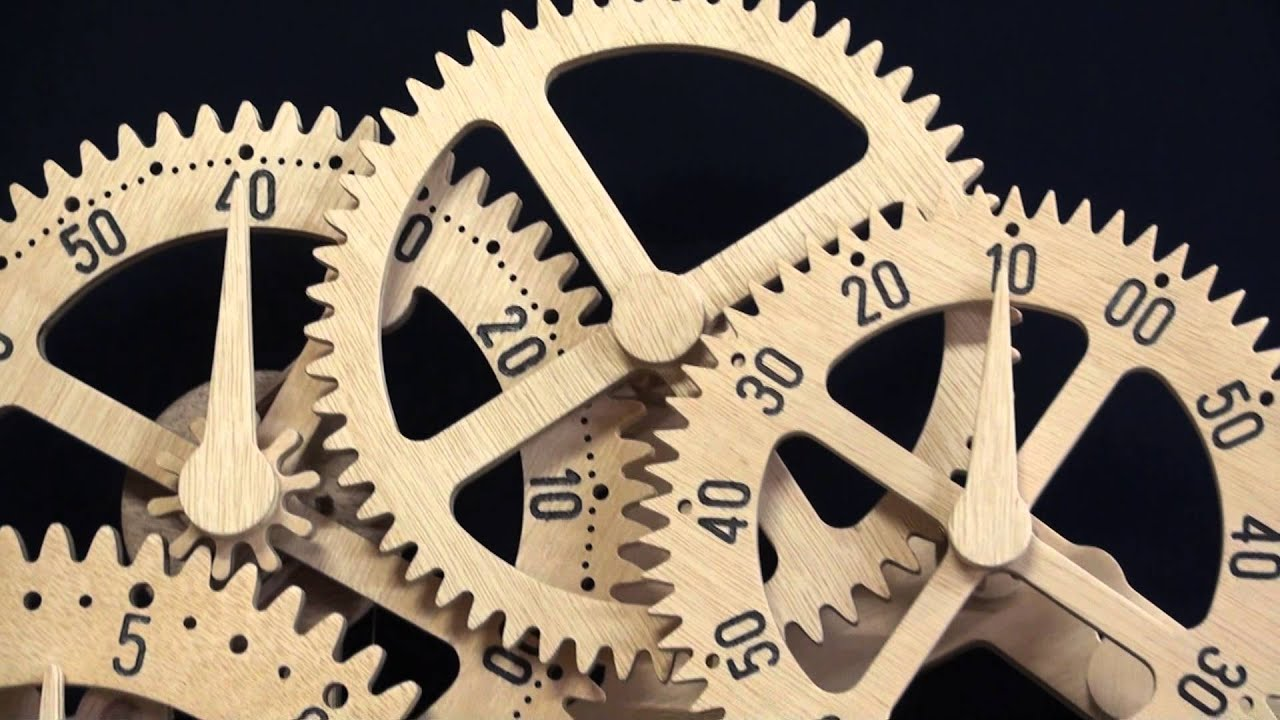 Wooden gear clock Genesis design by Clayton Boyer - YouTube